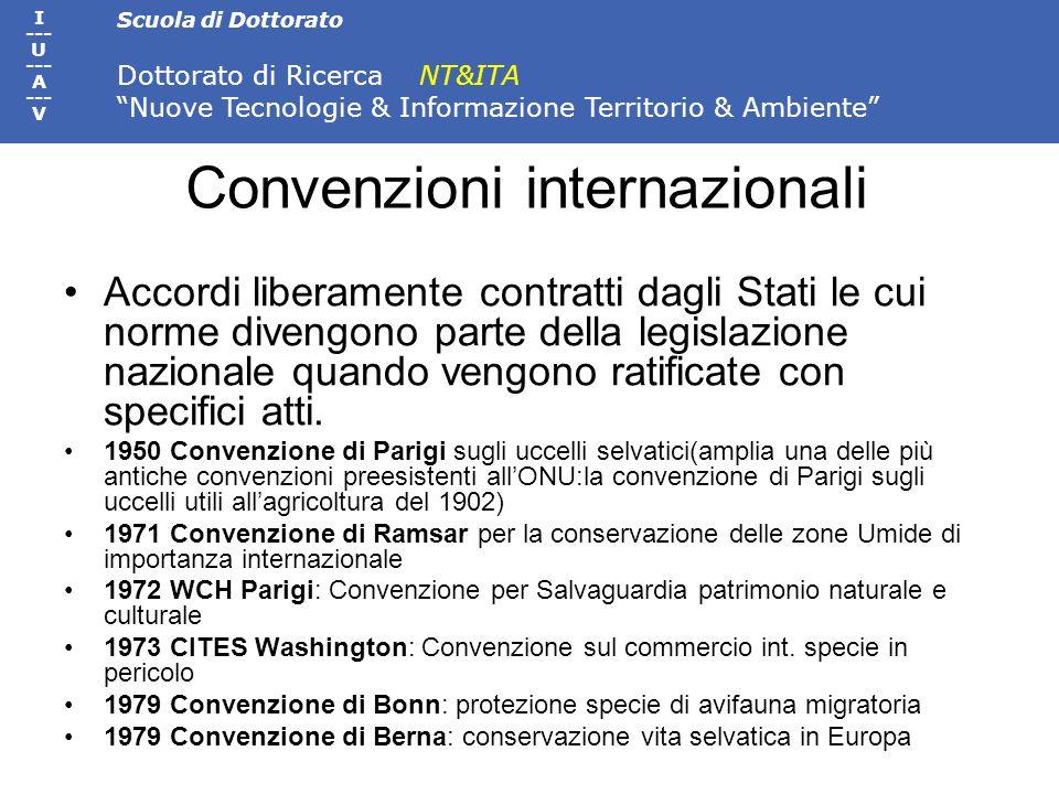 Scuola di Dottorato Dottorato di Ricerca NT&ITA Nuove Tecnologie & Informazione Territorio & Ambiente I --- U --- A --- V Convenzioni internazionali A