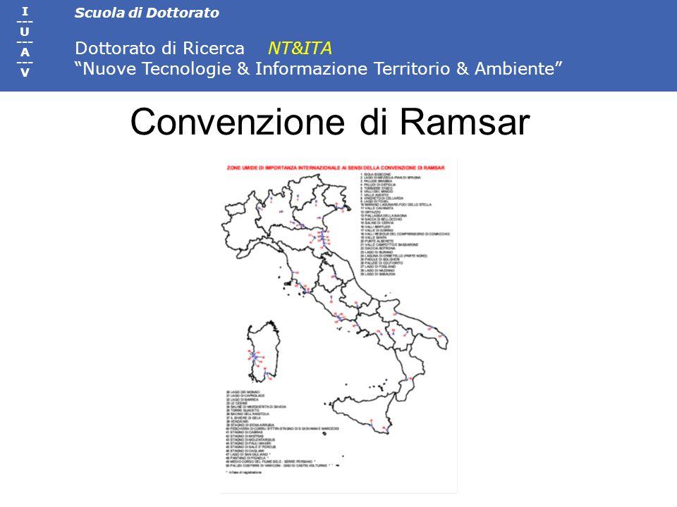 Scuola di Dottorato Dottorato di Ricerca NT&ITA Nuove Tecnologie & Informazione Territorio & Ambiente I --- U --- A --- V Convenzione di Ramsar