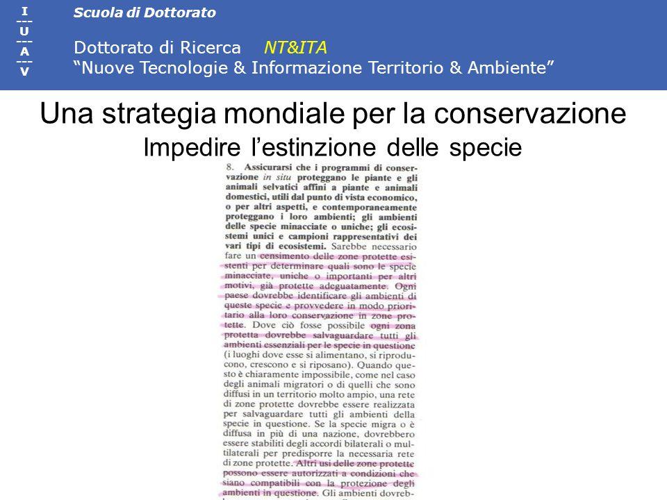 Scuola di Dottorato Dottorato di Ricerca NT&ITA Nuove Tecnologie & Informazione Territorio & Ambiente I --- U --- A --- V Una strategia mondiale per l