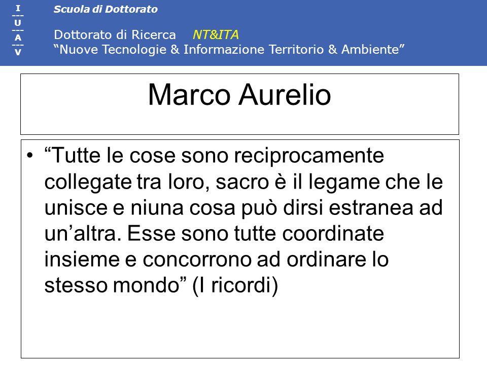 Scuola di Dottorato Dottorato di Ricerca NT&ITA Nuove Tecnologie & Informazione Territorio & Ambiente I --- U --- A --- V Marco Aurelio Tutte le cose