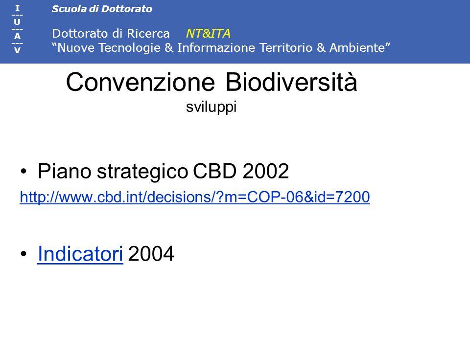 Scuola di Dottorato Dottorato di Ricerca NT&ITA Nuove Tecnologie & Informazione Territorio & Ambiente I --- U --- A --- V Convenzione Biodiversità svi