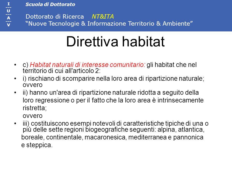 Scuola di Dottorato Dottorato di Ricerca NT&ITA Nuove Tecnologie & Informazione Territorio & Ambiente I --- U --- A --- V Direttiva habitat c) Habitat