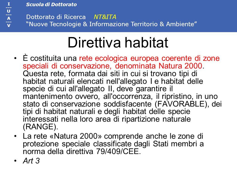 Scuola di Dottorato Dottorato di Ricerca NT&ITA Nuove Tecnologie & Informazione Territorio & Ambiente I --- U --- A --- V Direttiva habitat È costitui