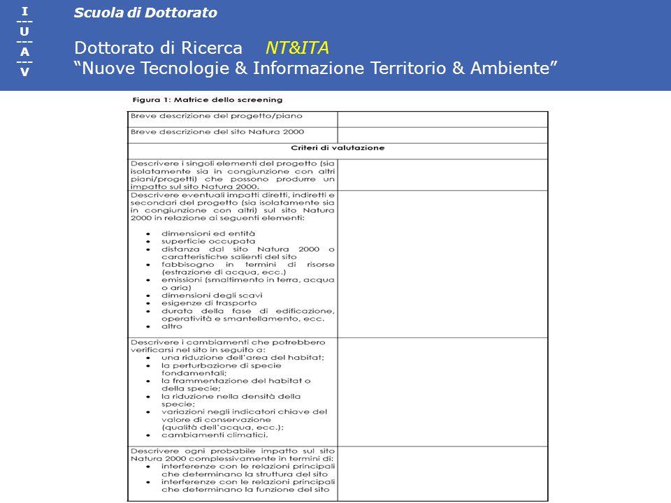 Scuola di Dottorato Dottorato di Ricerca NT&ITA Nuove Tecnologie & Informazione Territorio & Ambiente I --- U --- A --- V
