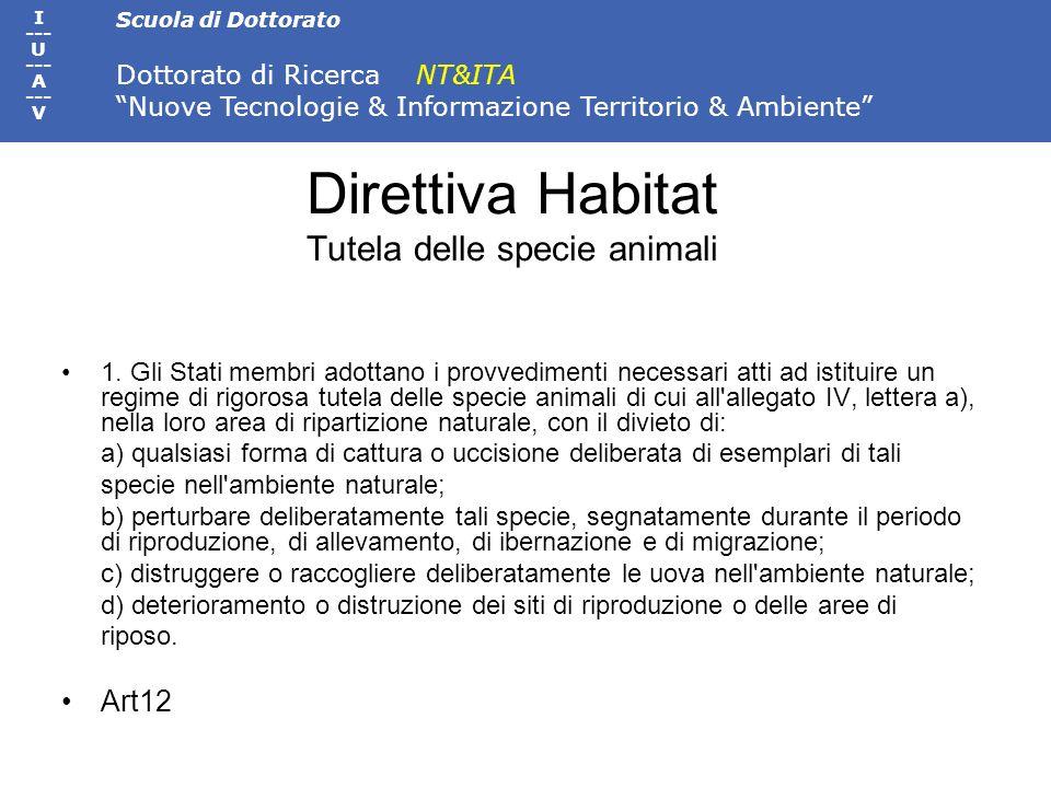 Scuola di Dottorato Dottorato di Ricerca NT&ITA Nuove Tecnologie & Informazione Territorio & Ambiente I --- U --- A --- V Direttiva Habitat Tutela del