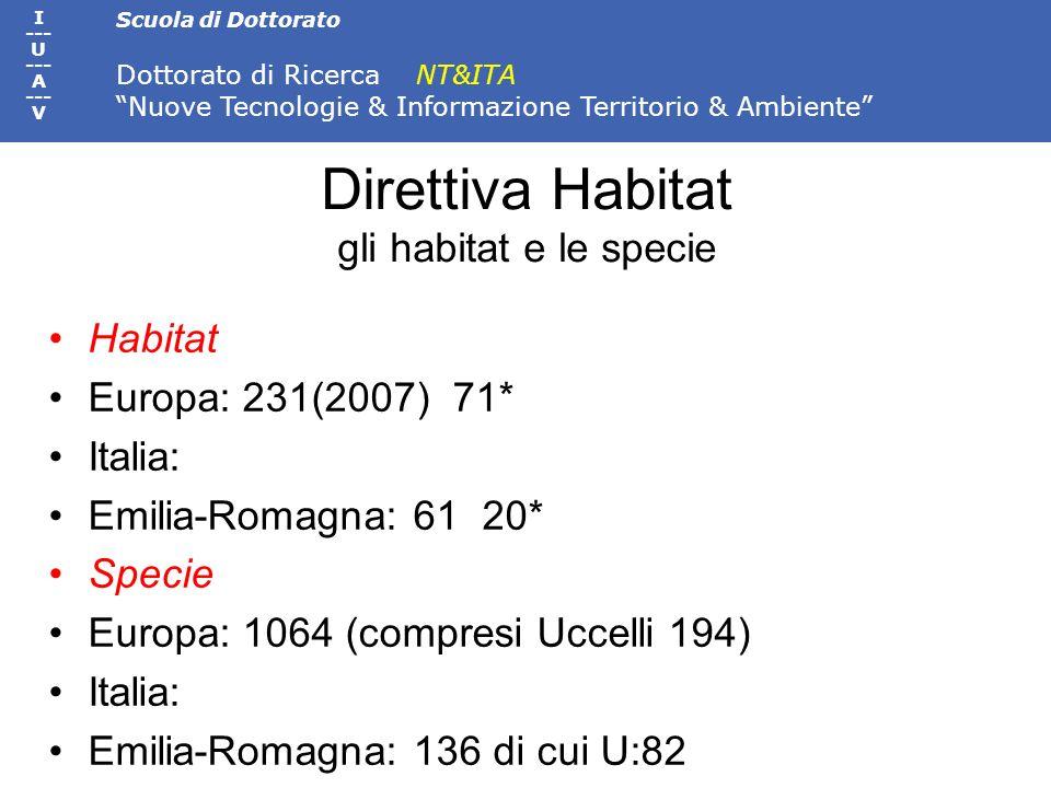 Scuola di Dottorato Dottorato di Ricerca NT&ITA Nuove Tecnologie & Informazione Territorio & Ambiente I --- U --- A --- V Direttiva Habitat gli habita