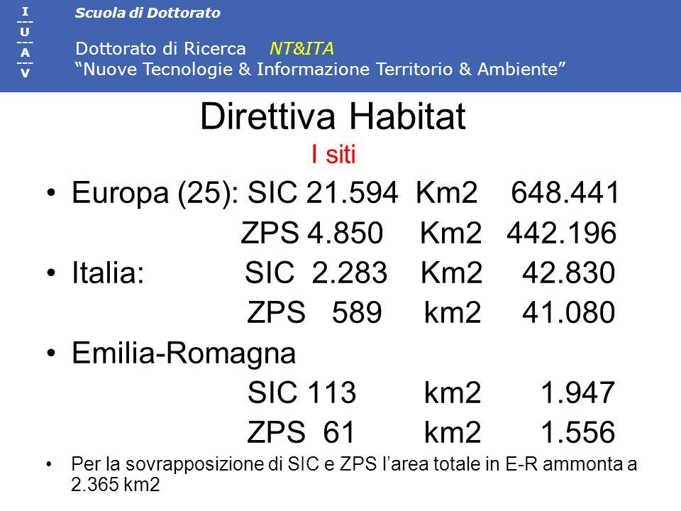 Scuola di Dottorato Dottorato di Ricerca NT&ITA Nuove Tecnologie & Informazione Territorio & Ambiente I --- U --- A --- V Direttiva Habitat I siti Eur