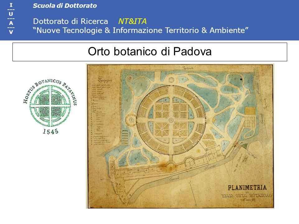 Scuola di Dottorato Dottorato di Ricerca NT&ITA Nuove Tecnologie & Informazione Territorio & Ambiente I --- U --- A --- V Orto botanico di Padova