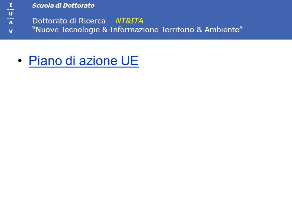 Scuola di Dottorato Dottorato di Ricerca NT&ITA Nuove Tecnologie & Informazione Territorio & Ambiente I --- U --- A --- V Piano di azione UE