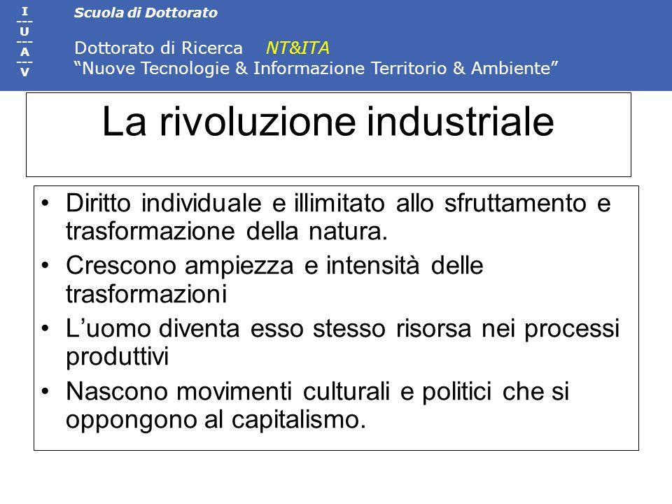 Scuola di Dottorato Dottorato di Ricerca NT&ITA Nuove Tecnologie & Informazione Territorio & Ambiente I --- U --- A --- V La rivoluzione industriale D