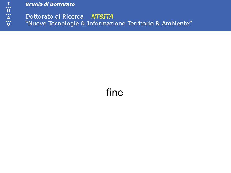 Scuola di Dottorato Dottorato di Ricerca NT&ITA Nuove Tecnologie & Informazione Territorio & Ambiente I --- U --- A --- V fine