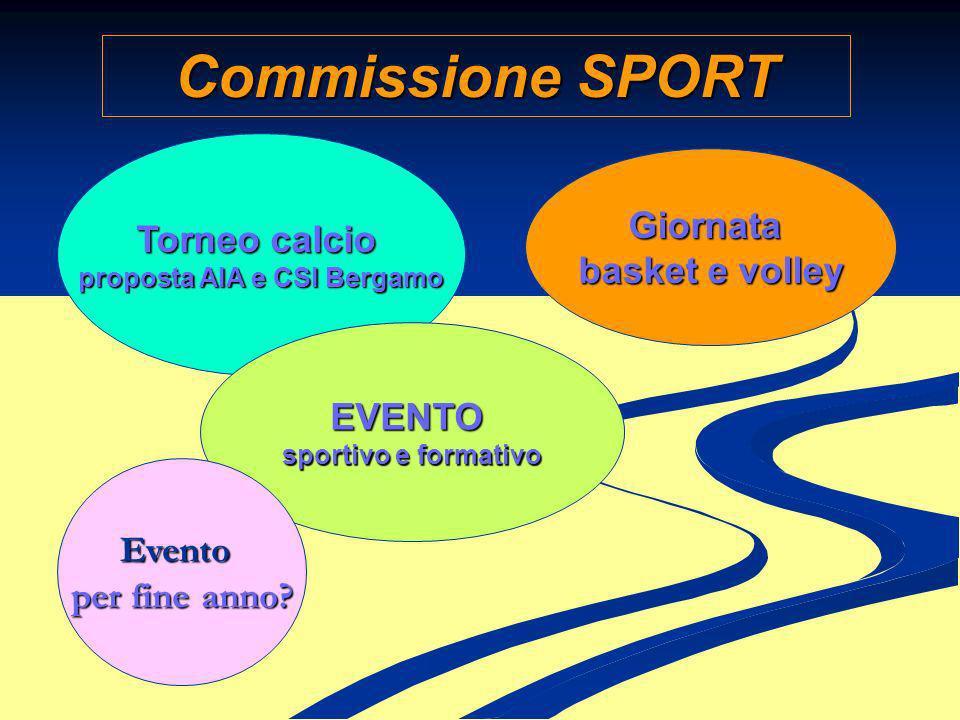 Commissione SPORT Torneo calcio proposta AIA e CSI Bergamo Giornata basket e volley EVENTO sportivo e formativo Evento per fine anno?