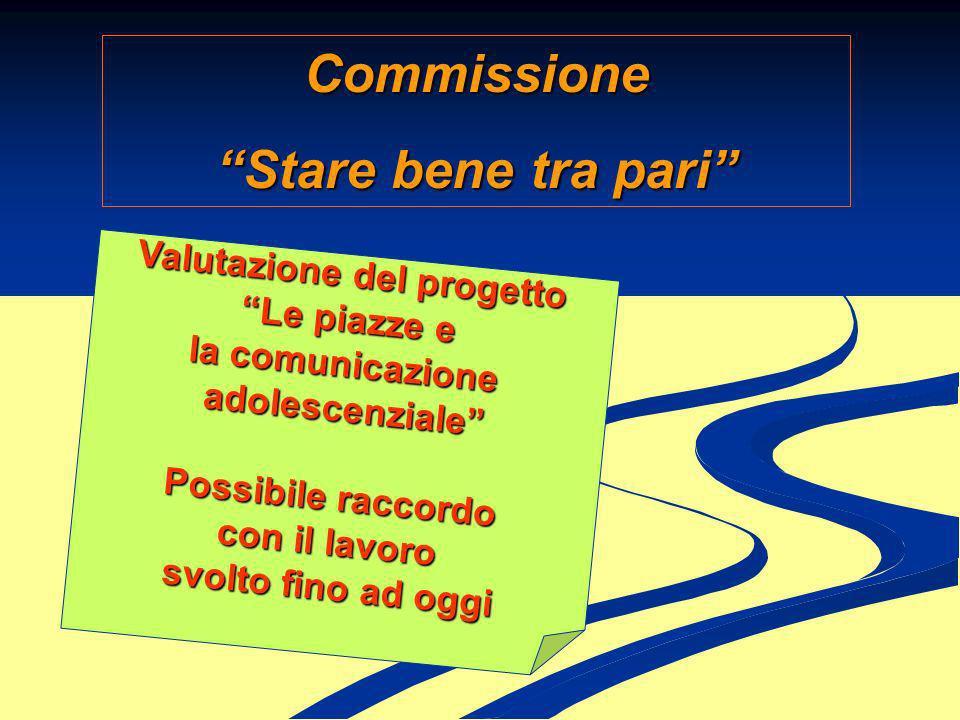 Commissione Stare bene tra pari Valutazione del progetto Le piazze e la comunicazione adolescenziale Possibile raccordo con il lavoro svolto fino ad o