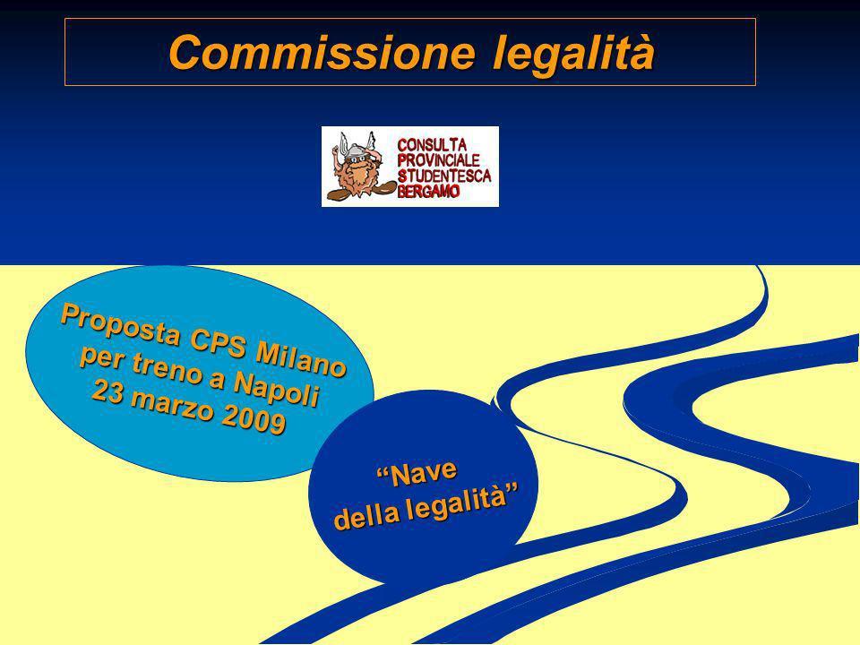 Commissione legalità Proposta CPS Milano Proposta CPS Milano per treno a Napoli per treno a Napoli 23 marzo 2009 23 marzo 2009Nave della legalità