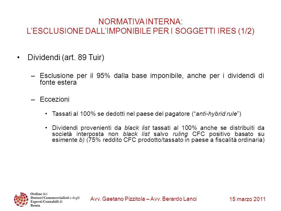 15 marzo 2011 Avv. Gaetano Pizzitola – Avv. Berardo Lanci NORMATIVA INTERNA: LESCLUSIONE DALLIMPONIBILE PER I SOGGETTI IRES (1/2) Dividendi (art. 89 T