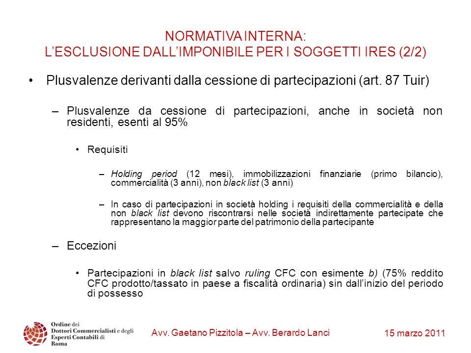 15 marzo 2011 Avv. Gaetano Pizzitola – Avv. Berardo Lanci Plusvalenze derivanti dalla cessione di partecipazioni (art. 87 Tuir) –Plusvalenze da cessio