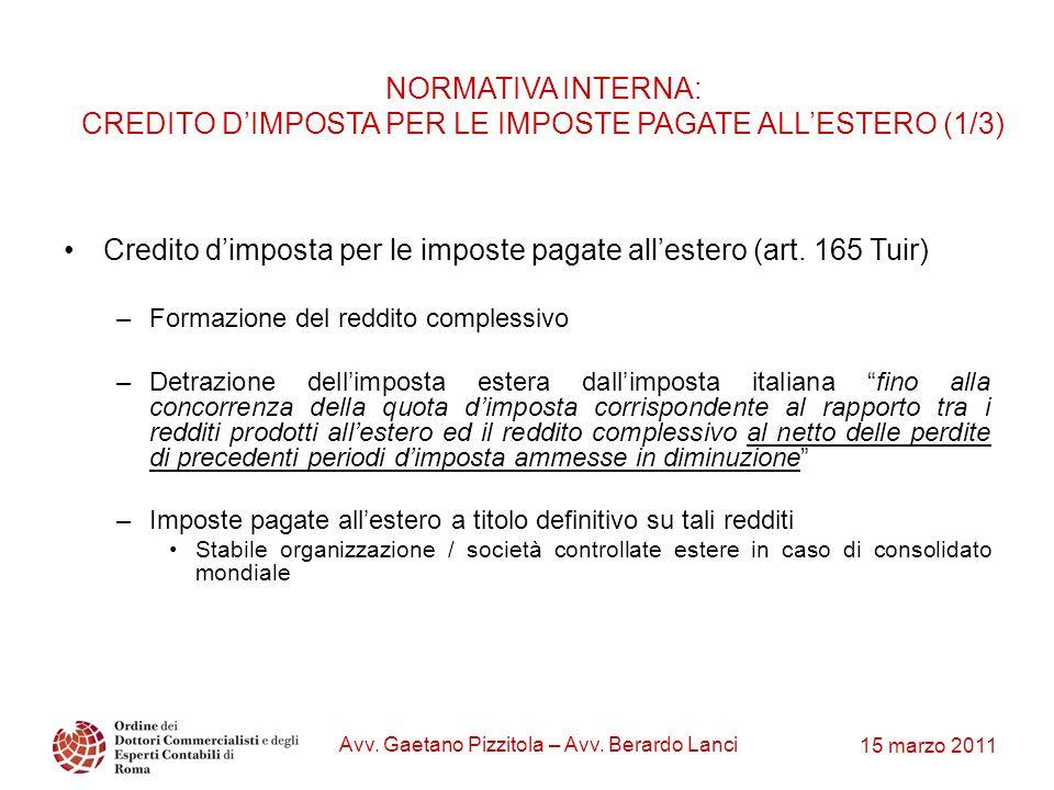 15 marzo 2011 Avv. Gaetano Pizzitola – Avv. Berardo Lanci NORMATIVA INTERNA: CREDITO DIMPOSTA PER LE IMPOSTE PAGATE ALLESTERO (1/3) Credito dimposta p
