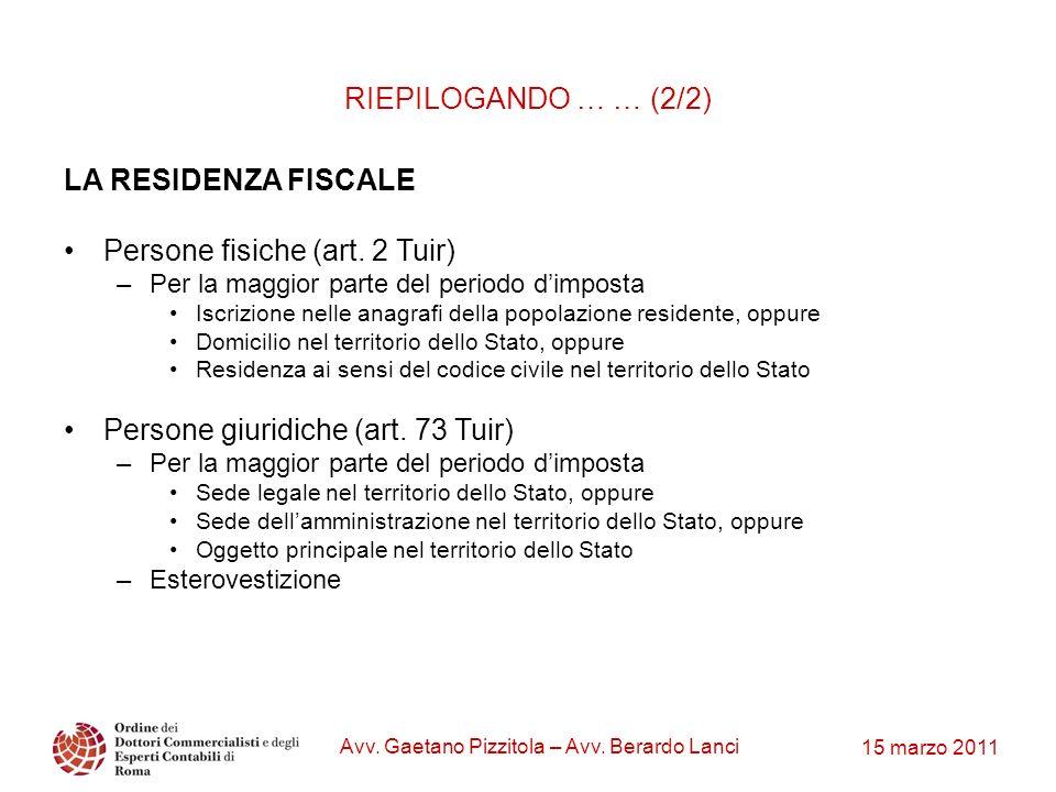 15 marzo 2011 Avv. Gaetano Pizzitola – Avv. Berardo Lanci LA RESIDENZA FISCALE Persone fisiche (art. 2 Tuir) –Per la maggior parte del periodo dimpost