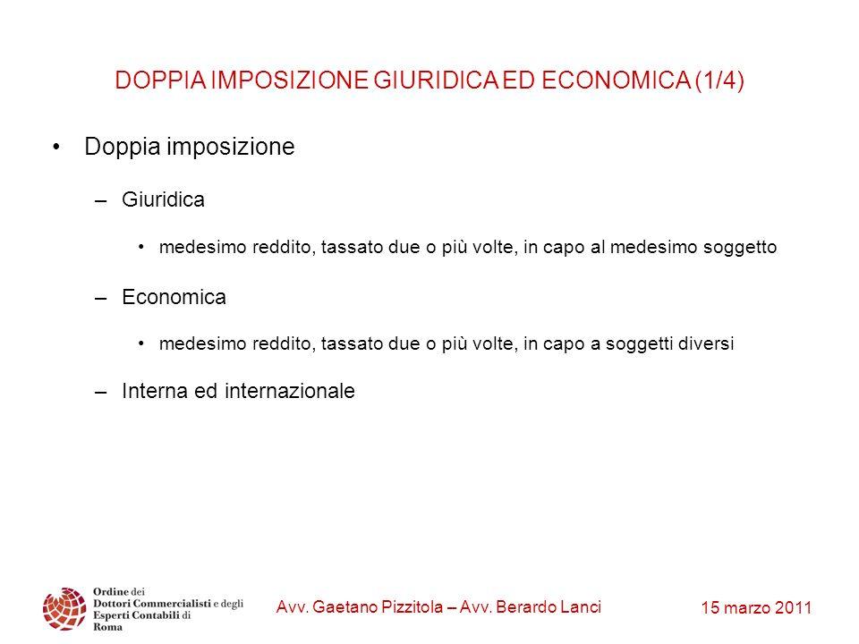 15 marzo 2011 Avv. Gaetano Pizzitola – Avv. Berardo Lanci DOPPIA IMPOSIZIONE GIURIDICA ED ECONOMICA (1/4) Doppia imposizione –Giuridica medesimo reddi