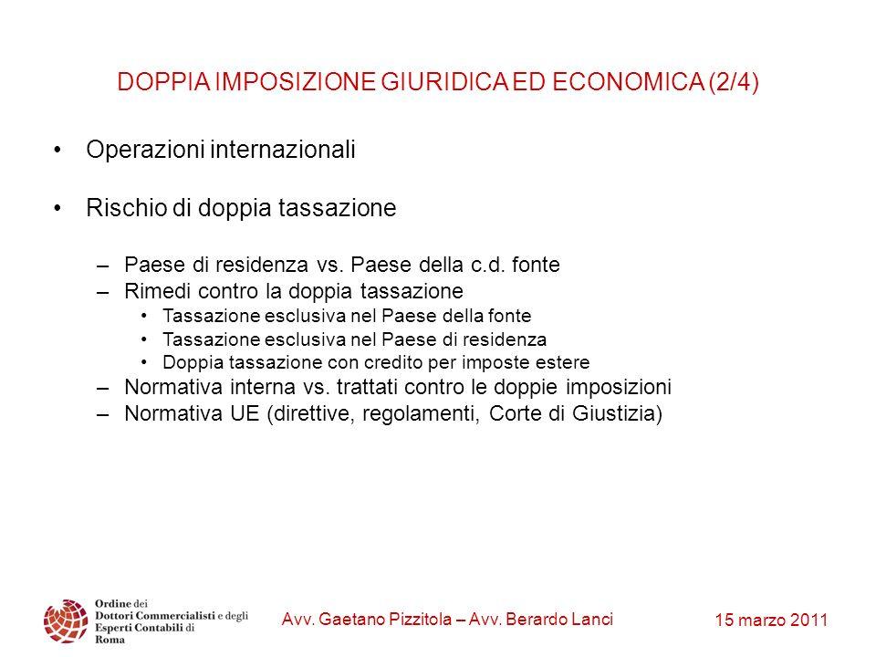 15 marzo 2011 Avv. Gaetano Pizzitola – Avv. Berardo Lanci DOPPIA IMPOSIZIONE GIURIDICA ED ECONOMICA (2/4) Operazioni internazionali Rischio di doppia