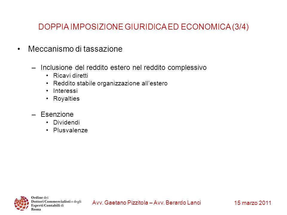 15 marzo 2011 Avv. Gaetano Pizzitola – Avv. Berardo Lanci DOPPIA IMPOSIZIONE GIURIDICA ED ECONOMICA (3/4) Meccanismo di tassazione –Inclusione del red