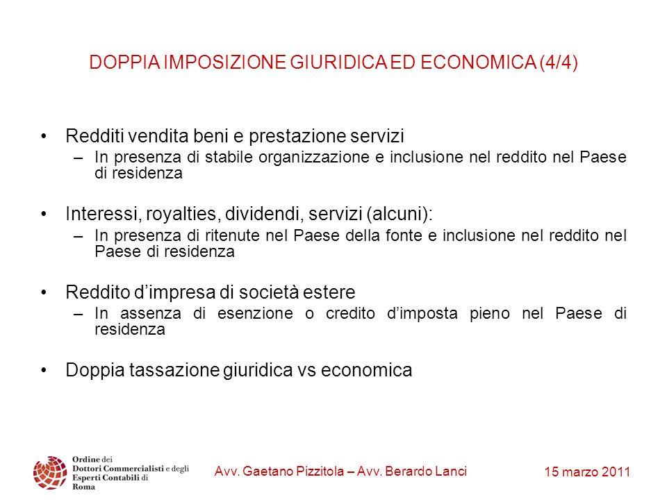 15 marzo 2011 Avv. Gaetano Pizzitola – Avv. Berardo Lanci DOPPIA IMPOSIZIONE GIURIDICA ED ECONOMICA (4/4) Redditi vendita beni e prestazione servizi –
