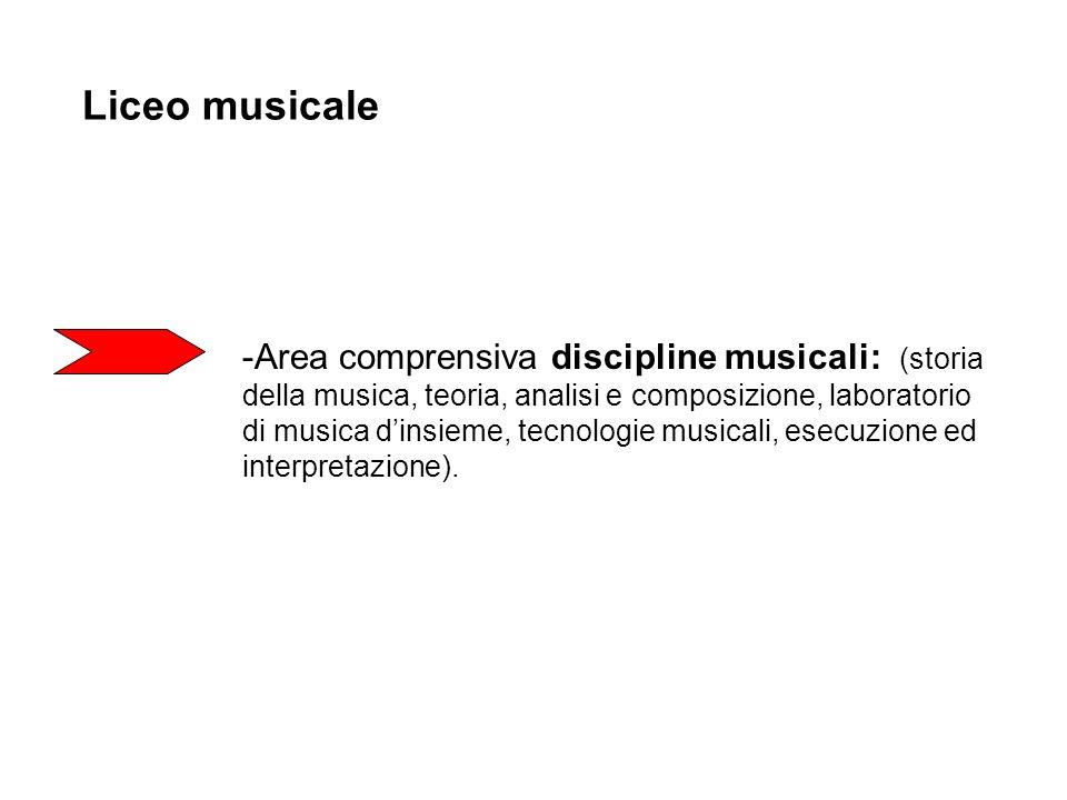 Liceo musicale -Area comprensiva discipline musicali: (storia della musica, teoria, analisi e composizione, laboratorio di musica dinsieme, tecnologie