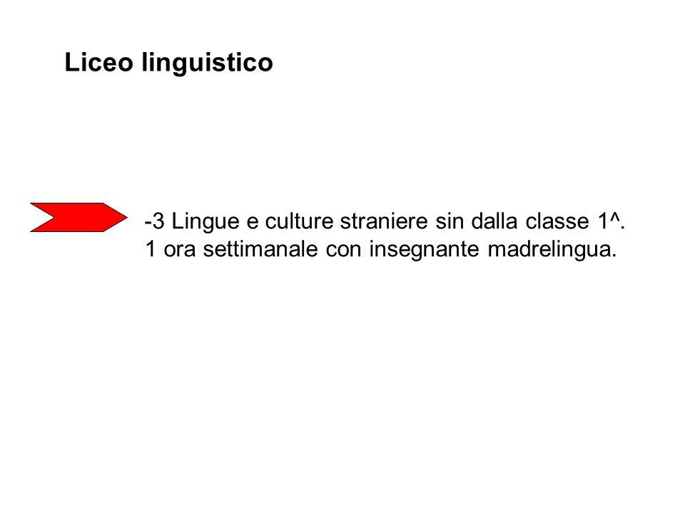 Liceo linguistico -3 Lingue e culture straniere sin dalla classe 1^. 1 ora settimanale con insegnante madrelingua.