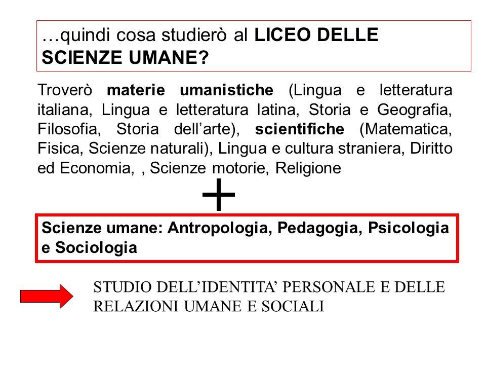 …quindi cosa studierò al LICEO DELLE SCIENZE UMANE? Troverò materie umanistiche (Lingua e letteratura italiana, Lingua e letteratura latina, Storia e