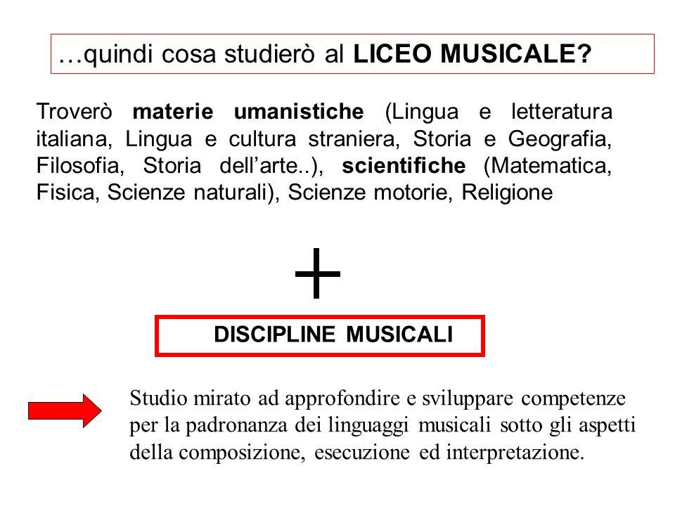 …quindi cosa studierò al LICEO MUSICALE? DISCIPLINE MUSICALI Studio mirato ad approfondire e sviluppare competenze per la padronanza dei linguaggi mus