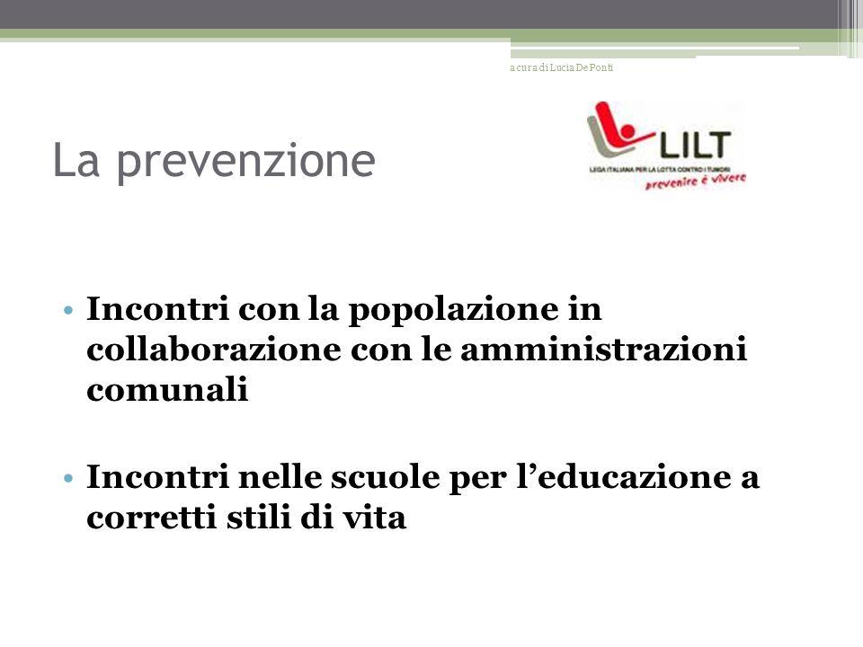 La prevenzione Incontri con la popolazione in collaborazione con le amministrazioni comunali Incontri nelle scuole per leducazione a corretti stili di vita a cura di Lucia De Ponti