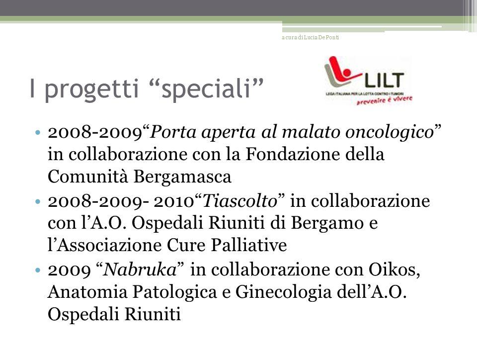 I progetti speciali 2008-2009Porta aperta al malato oncologico in collaborazione con la Fondazione della Comunità Bergamasca 2008-2009- 2010Tiascolto in collaborazione con lA.O.