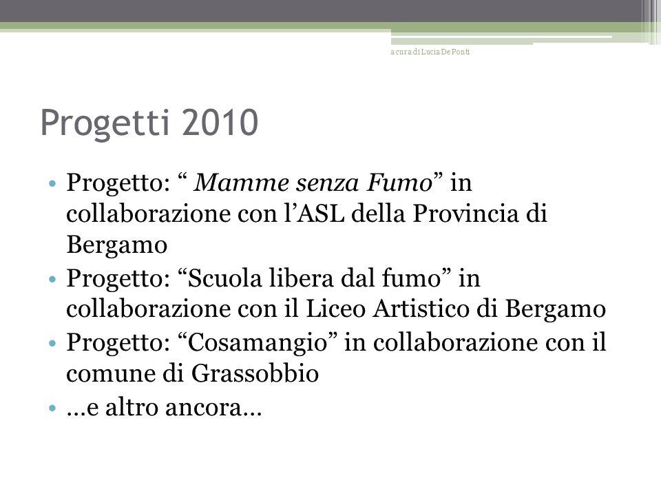 Progetti 2010 Progetto: Mamme senza Fumo in collaborazione con lASL della Provincia di Bergamo Progetto: Scuola libera dal fumo in collaborazione con