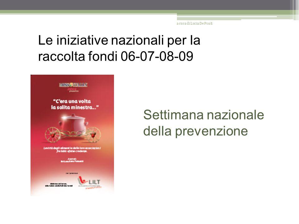 Le iniziative nazionali per la raccolta fondi 06-07-08-09 Settimana nazionale della prevenzione a cura di Lucia De Ponti