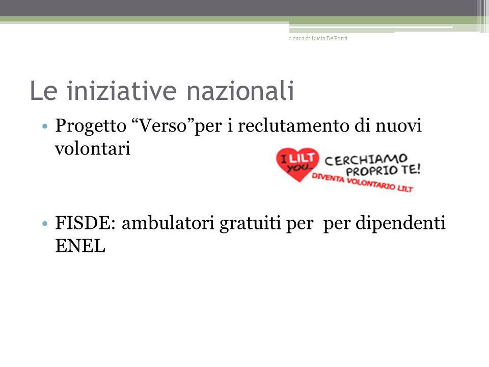 Le iniziative nazionali Progetto Versoper i reclutamento di nuovi volontari FISDE: ambulatori gratuiti per per dipendenti ENEL a cura di Lucia De Ponti