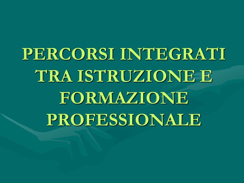PERCORSI INTEGRATI TRA ISTRUZIONE E FORMAZIONE PROFESSIONALE