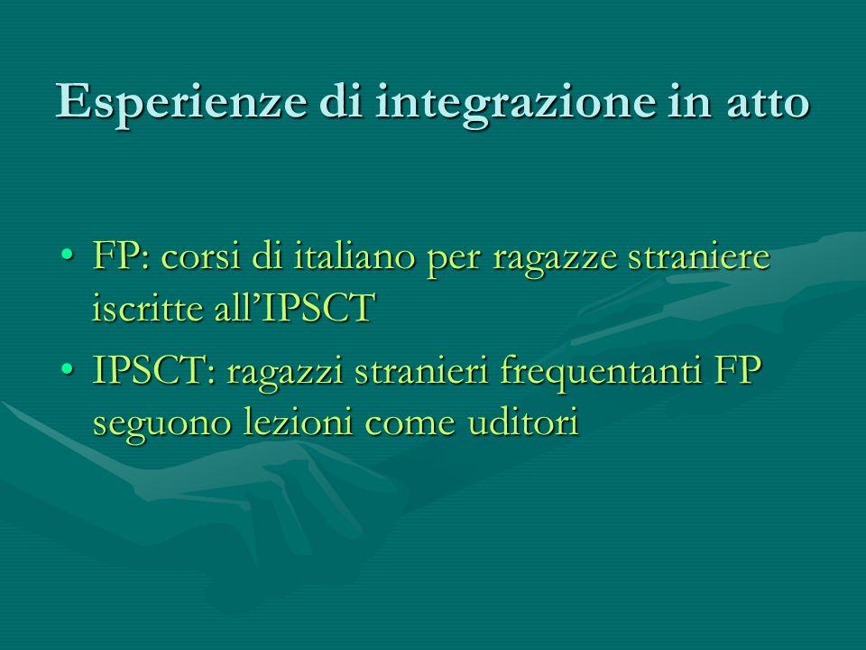 Esperienze di integrazione in atto FP: corsi di italiano per ragazze straniere iscritte allIPSCTFP: corsi di italiano per ragazze straniere iscritte allIPSCT IPSCT: ragazzi stranieri frequentanti FP seguono lezioni come uditoriIPSCT: ragazzi stranieri frequentanti FP seguono lezioni come uditori