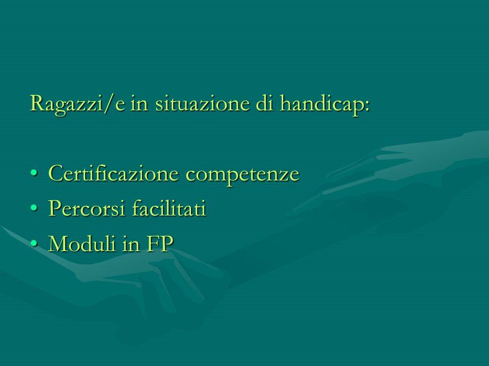 Ragazzi/e in situazione di handicap: Certificazione competenzeCertificazione competenze Percorsi facilitatiPercorsi facilitati Moduli in FPModuli in F