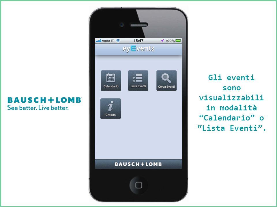 Gli eventi sono visualizzabili in modalità Calendario o Lista Eventi.