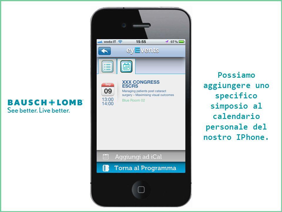 Possiamo aggiungere uno specifico simposio al calendario personale del nostro IPhone.