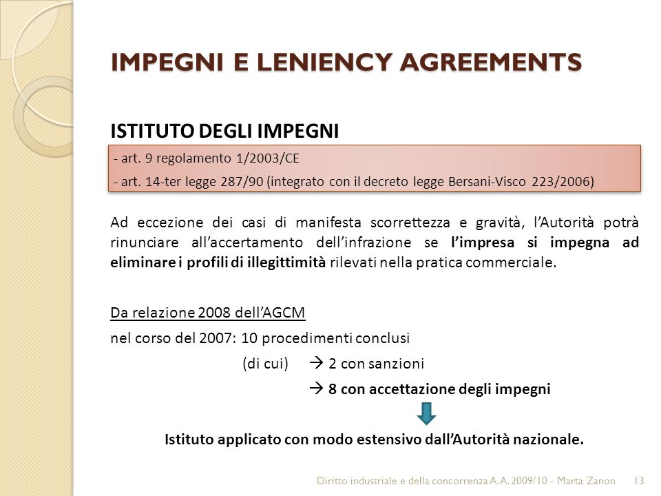 IMPEGNI E LENIENCY AGREEMENTS ISTITUTO DEGLI IMPEGNI - art.