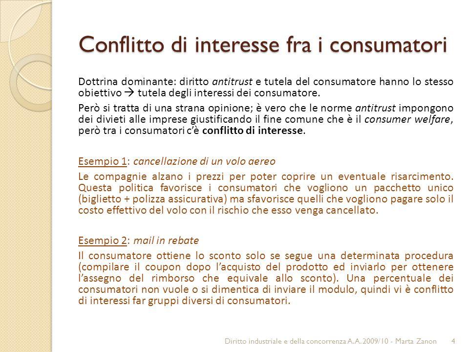 Conflitto di interesse fra i consumatori Dottrina dominante: diritto antitrust e tutela del consumatore hanno lo stesso obiettivo tutela degli interessi dei consumatore.