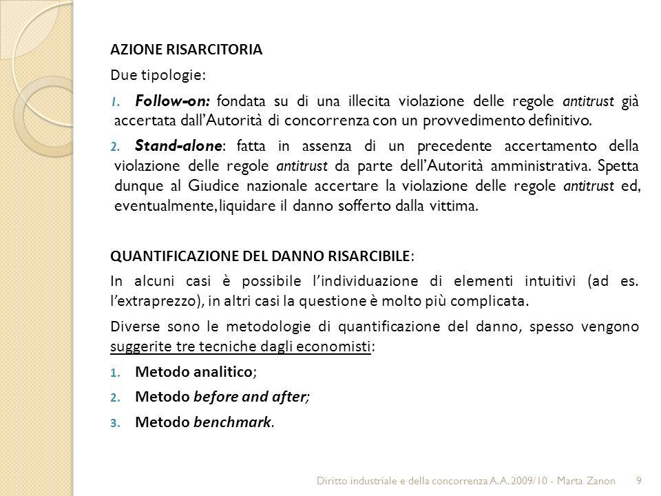 AZIONE RISARCITORIA Due tipologie: 1.