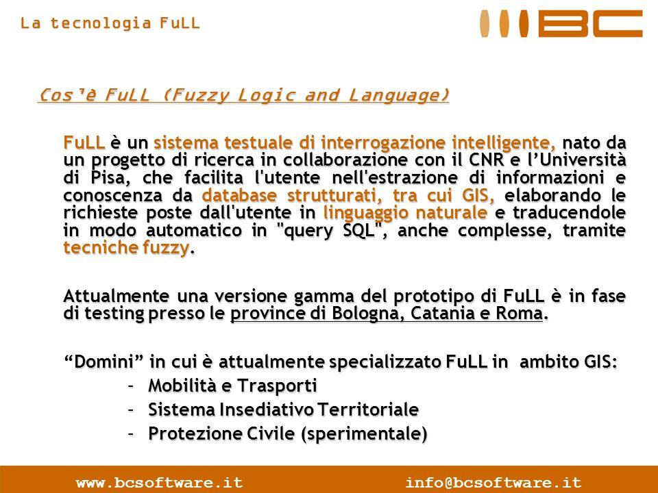 www.bcsoftware.itinfo@bcsoftware.it Cosè FuLL (Fuzzy Logic and Language) FuLL è un sistema testuale di interrogazione intelligente, nato da un progetto di ricerca in collaborazione con il CNR e lUniversità di Pisa, che facilita l utente nell estrazione di informazioni e conoscenza da database strutturati, tra cui GIS, elaborando le richieste poste dall utente in linguaggio naturale e traducendole in modo automatico in query SQL , anche complesse, tramite tecniche fuzzy.