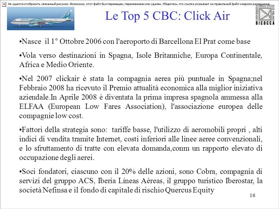 16 Le Top 5 CBC: Click Air 35,9 Mln 23,9 Mln -3,3% + 29,5 % Nasce il 1° Ottobre 2006 con l'aeroporto di Barcellona El Prat come base Vola verso destin