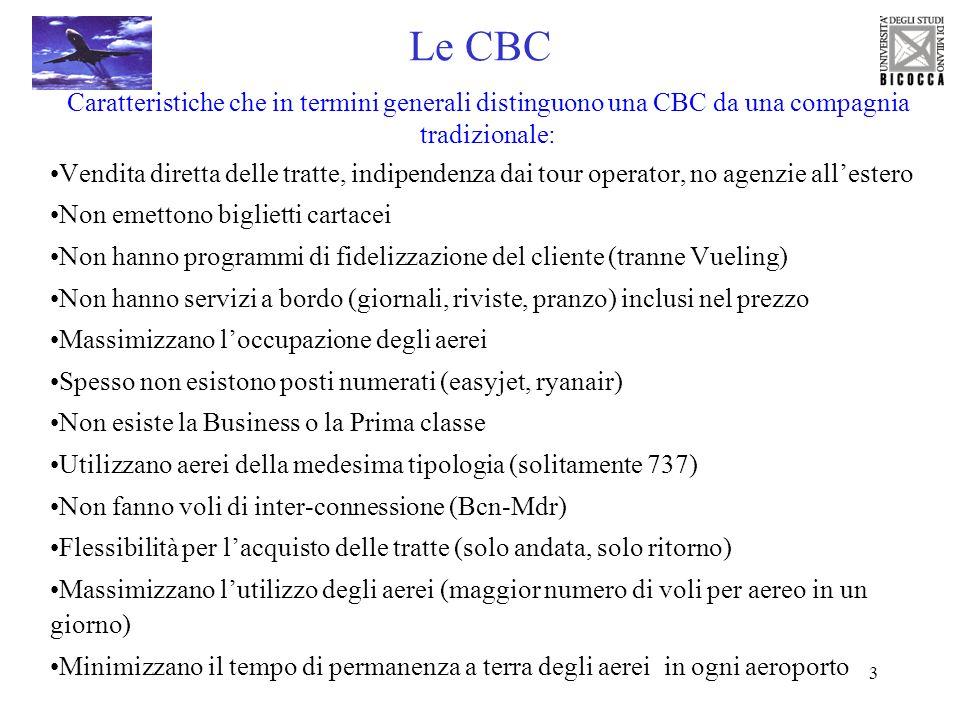 3 Le CBC Caratteristiche che in termini generali distinguono una CBC da una compagnia tradizionale: Vendita diretta delle tratte, indipendenza dai tou