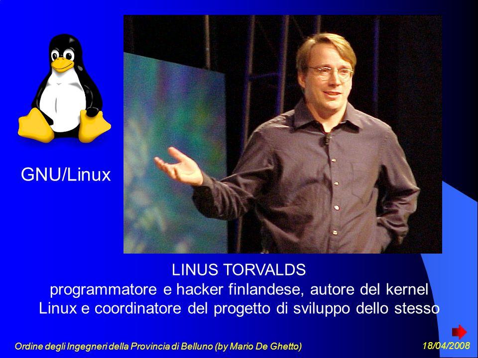 Ordine degli Ingegneri della Provincia di Belluno (by Mario De Ghetto) 18/04/2008 LINUS TORVALDS programmatore e hacker finlandese, autore del kernel Linux e coordinatore del progetto di sviluppo dello stesso GNU/Linux