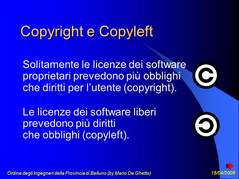 Ordine degli Ingegneri della Provincia di Belluno (by Mario De Ghetto) 18/04/2008 Copyright e Copyleft Solitamente le licenze dei software proprietari prevedono più obblighi che diritti per lutente (copyright).
