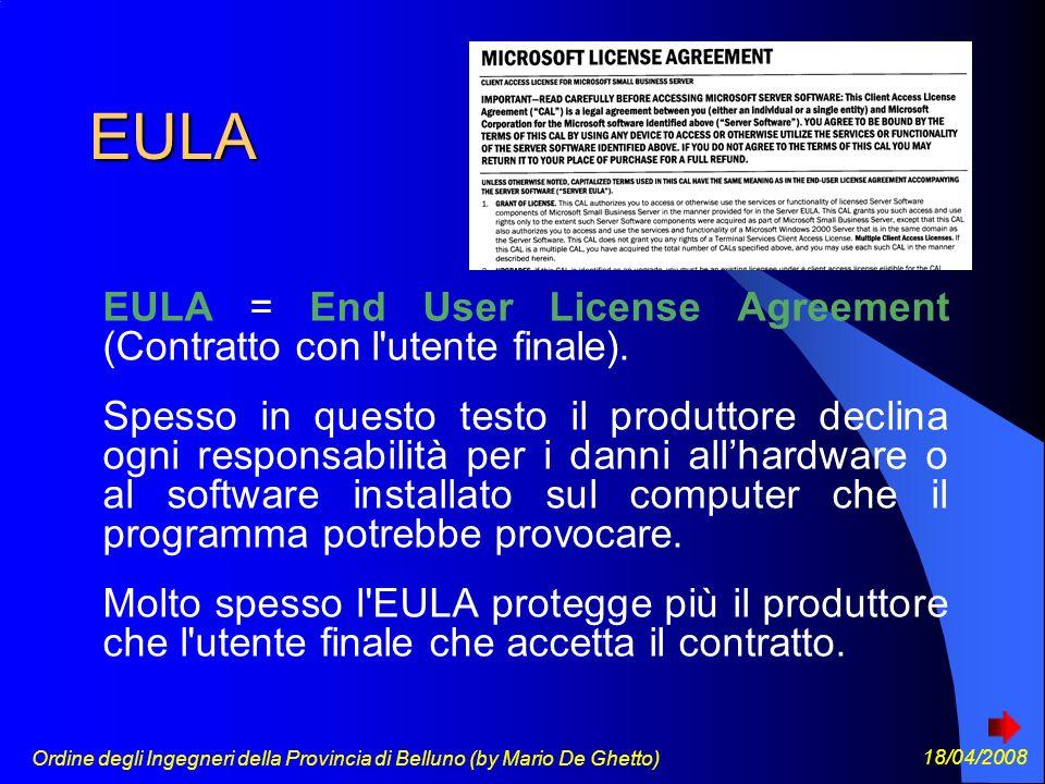 Ordine degli Ingegneri della Provincia di Belluno (by Mario De Ghetto) 18/04/2008 EULA EULA = End User License Agreement (Contratto con l utente finale).