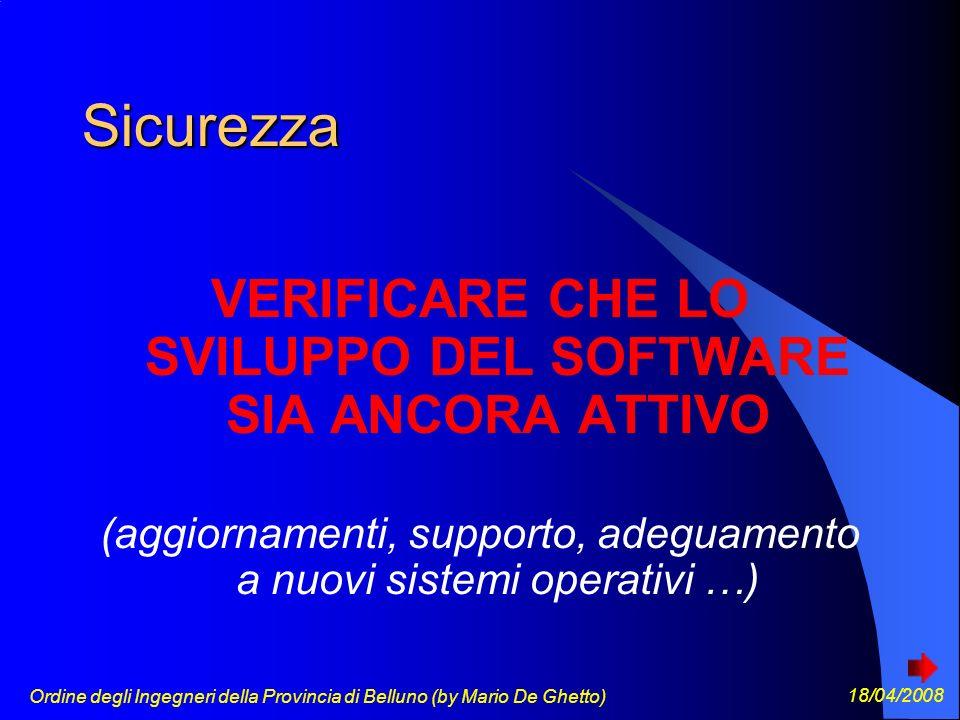 Ordine degli Ingegneri della Provincia di Belluno (by Mario De Ghetto) 18/04/2008 Sicurezza VERIFICARE CHE LO SVILUPPO DEL SOFTWARE SIA ANCORA ATTIVO (aggiornamenti, supporto, adeguamento a nuovi sistemi operativi …)